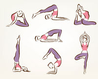 Ensemble de poses de yoga et de pilates Images stock