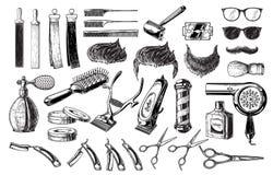Ensemble de poteau de brosse de lame de ciseaux de logos d'insignes de labels d'emblèmes de raseur-coiffeur de vintage D'isolemen illustration libre de droits