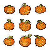 Ensemble de potiron de jaune de Halloween Images libres de droits