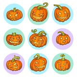 Ensemble de potiron de jaune de Halloween Image stock