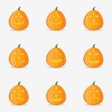 Ensemble de potirons pour Halloween avec différentes expressions du visage Image libre de droits