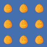Ensemble de potirons pour Halloween avec différentes expressions du visage Jack-o-lanterne illustration de vecteur