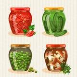 Ensemble de pots avec des légumes Images libres de droits