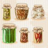 Ensemble de pots avec des légumes Images stock