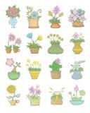 Ensemble de pots de fleurs Photo libre de droits