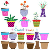Ensemble de pots de fleurs colorés Image libre de droits