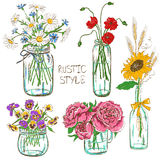 Ensemble de pots de maçon avec des fleurs Images libres de droits