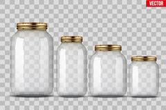 Ensemble de pots en verre pour la mise en boîte Photographie stock libre de droits