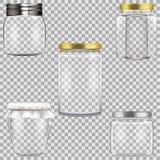 Ensemble de pots en verre vides pour la mise en boîte illustration stock