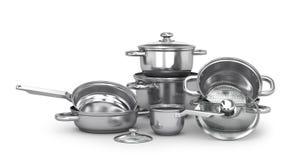 Ensemble de pots et de casserole inoxydables avec les couvercles en verre illustration 3D Images stock