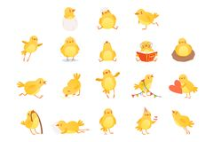 Ensemble de poulet jaune drôle dans diverses situations Personnage de dessin animé de peu d'oiseau de ferme Conception plate d'is illustration de vecteur