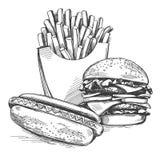 Ensemble de prêt-à-manger, pommes frites, hot-dog, croquis réaliste d'illustration tirée par la main de vecteur de logo d'hamburg illustration libre de droits