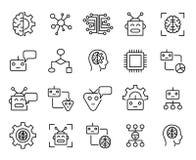 Ensemble de prime de ligne icônes d'apprentissage automatique illustration stock