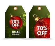Ensemble de prix à payer avec la boule ou les labels de décoration special, remise de vacances Photo stock