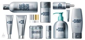 Ensemble de produit cosmétique de soin quotidien réaliste de beauté illustration de vecteur