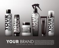 Ensemble de produits cosmétique de cheveux réalistes illustration de vecteur