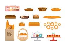 Ensemble de produits de boulangerie et de pain d'élite, bonbons Étalage de boulangerie illustration de vecteur