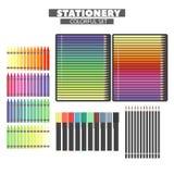 Ensemble de produits finis multicolores Photo stock