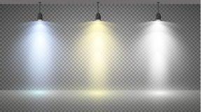 Ensemble de projecteurs colorés sur un fond transparent Image stock