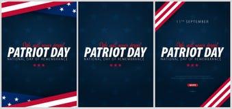 Ensemble de promotions de jour de patriote, advertisings, affiches, bannières, calibres avec le drapeau américain Papiers peints  illustration stock