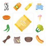 Ensemble de puces, hot-dog, cuvette, farine, poivre, chou-fleur, pois, I illustration libre de droits