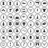 Ensemble de quarante-neuf icônes de beauté illustration de vecteur