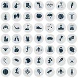 Ensemble de quarante-neuf icônes de sport Image libre de droits