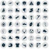 Ensemble de quarante-neuf icônes de sport Photographie stock libre de droits