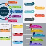 Ensemble de quatre éléments de conception infographic Calibre infographic étape-par-étape de conception Photo stock