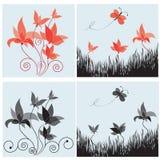 Ensemble de quatre éléments de conception florale Images stock