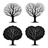 Ensemble de quatre arbres Images libres de droits