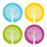 Ensemble de quatre arbres blancs avec des feuilles sur le fond rond coloré Photo stock