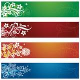 Ensemble de quatre bannières saisonnières de fleurs et de flocons de neige Images stock