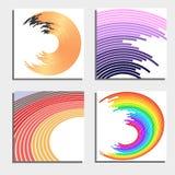 Ensemble de quatre beaux milieux abstraits Cercles légers instantanés abstraits Image stock