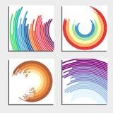 Ensemble de quatre beaux milieux abstraits Cercles légers instantanés abstraits Images stock