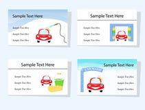 Ensemble de quatre cartes de visite professionnelle de visite de lavage de voiture Image stock