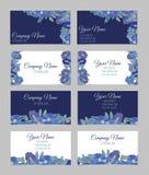 Ensemble de quatre cartes de visite professionnelle de visite florales doubles faces Photographie stock libre de droits