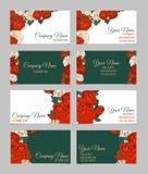 Ensemble de quatre cartes de visite professionnelle de visite florales doubles faces Photo stock