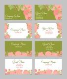 Ensemble de quatre cartes de visite professionnelle de visite florales doubles faces Images libres de droits