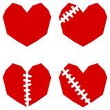 Ensemble de quatre coeurs rouges avec la cicatrice Image libre de droits