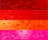 Ensemble de quatre drapeaux grunges avec des coeurs Photos libres de droits