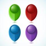 Ensemble de quatre indicateurs brillants de carte Image libre de droits