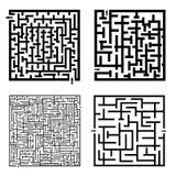 Ensemble de quatre labyrinthes Images libres de droits