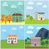 Ensemble de quatre maisons isolées dans la nature Images stock