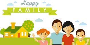 Ensemble de quatre membres de la famille posant ensemble dans le style plat Photos stock