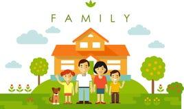 Ensemble de quatre membres de la famille posant ensemble dans le style plat Image libre de droits