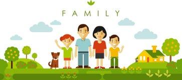 Ensemble de quatre membres de la famille posant ensemble dans le style plat Photos libres de droits