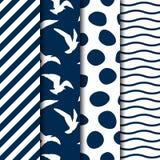 Ensemble de quatre modèles sans couture de style de mer de vecteur Image libre de droits