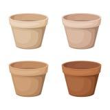 Ensemble de quatre pots de fleurs. Images stock