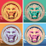 Ensemble de quatre prises multicolores avec le lion Art de bruit Photo stock